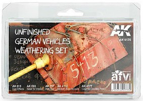 AK AFV Series- Unfinished German Vehicles Weathering Enamel Set (4 Colors, 2 Pencils) 35ml Bottles