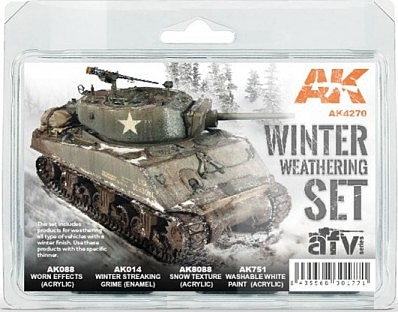 AK AFV Series- Winter Weathering Acrylic/Enamel Paint Set (14, 88, 751, 8088)