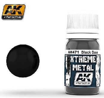 AK Interactive Xtreme Metal Satin Black Base -- Hobby and Model Acrylic Paint -- #471