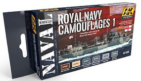 AK Naval Series- Royal Navy Camouflages 1 Acrylic Paint Set (6 Colors) 17ml Bottles