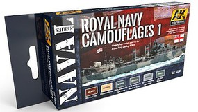 AK Naval Series- Royal Navy Camouflages 2 Acrylic Paint Set (6 Colors) 17ml Bottles