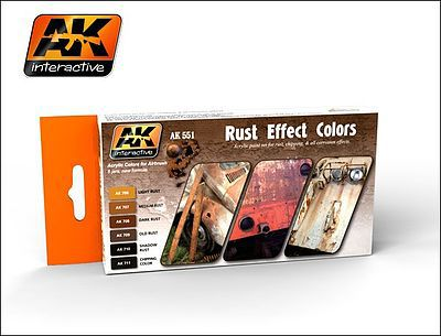 AK Interactive Rust Effects Acrylic Paint -- Hobby and Model Paint Set -- #551