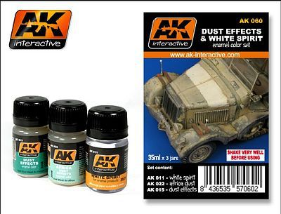 AK Dust Effects & White Spirit Enamel Paint Hobby and Model Paint Set #60