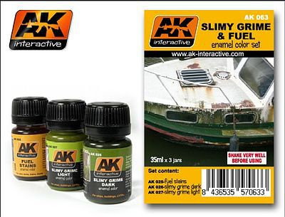 AK Slimy Grime & Fuel Stains Enamel Paint (25, 26, 27) Hobby and Model Paint Set #63