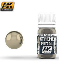 AK Xtreme Metal Pale Brass Metallic Paint 30ml Bottle Hobby and Model Enamel Paint #672