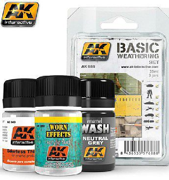 AK Basic Weathering Paint Set (49, 88, 677) Hobby and Model Paint Set #688