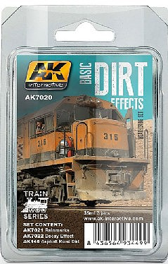 AK Basic Dirt Effects Weathering Enamel Paint (3 Colors) 35ml Hobby and Model Paint Set #7020