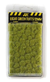 AK Diorama Series- Light Green Tufts 12mm (Self Adhesive)