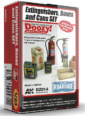AK 1/24 Doozy Series- Fire Extinguishers, Crates & Can Set (7) (Resin)
