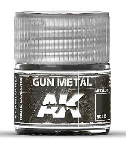 AK Interactive Real Colors- Gun Metal Acrylic Lacquer Paint 10ml Bottle