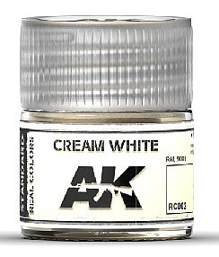 AK Interactive Real Colors- Cream White RAL 9001 Acrylic Lacquer Paint 10ml Bottle