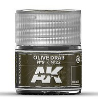 AK Real Colors- Olive Drab N9/N22 Acrylic Lacquer Paint 10ml Bottle