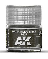 AK Real Colors- Dark Olive Drab N31 Acrylic Lacquer Paint 10ml Bottle