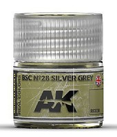 AK Real Colors- BSC N28 Silver Grey Acrylic Lacquer Paint 10ml Bottle