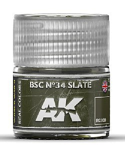 AK Interactive Real Colors- BSC N34 Slate Acrylic Lacquer Paint 10ml Bottle