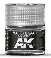 AK Real Colors- NATO Black RAL9021 F9 Acrylic Lacquer Paint 10ml Bottle