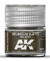 AK Real Colors- Gelboliv Late RAL6014 (NATO Oliv) Acrylic Lacquer Paint 10ml Bottle
