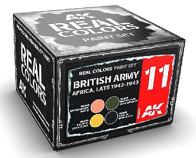AK Real Colors- British Army Africa Late 1942-1943 Acrylic Lacquer Paint Set (4) 10ml Bottles