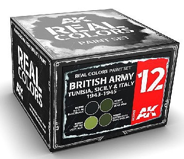 AK Real Colors- British Army Tunisia, Sicily & Italy 1942-1943 Acrylic Lacquer Paint Set (4) 10ml Bottles