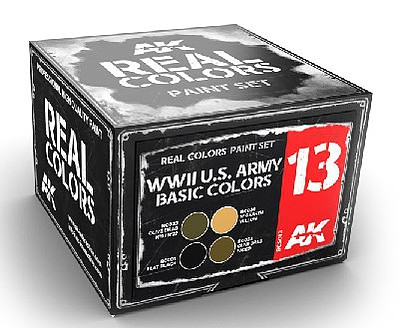 AK Interactive Real Colors- WWII US Army Basic Acrylic Lacquer Paint Set (4) 10ml Bottles