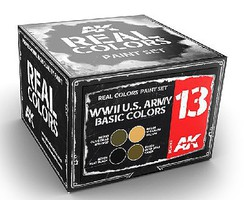 AK Real Colors- WWII US Army Basic Acrylic Lacquer Paint Set (4) 10ml Bottles