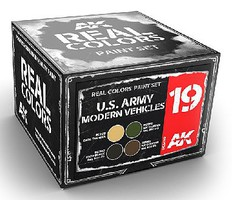 AK Real Colors- US Army Modern Vehicle Acrylic Lacquer Paint Set (4) 10ml Bottles