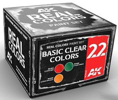 AK Real Colors- Basic Clear Colors Acrylic Lacquer Paint Set (3) 10ml Bottles