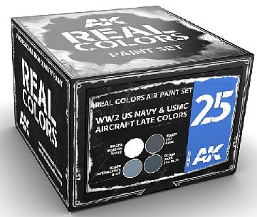 AK Real Colors- WWII USN & USMC Aircraft Late Acrylic Lacquer Paint Set (4) 10ml Bottles