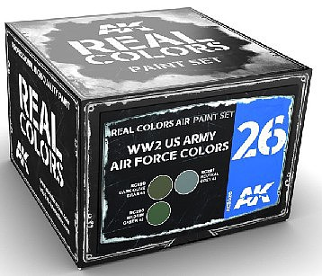 AK Real Colors- WWII USAAF Acrylic Lacquer Paint Set (3) 10ml Bottles