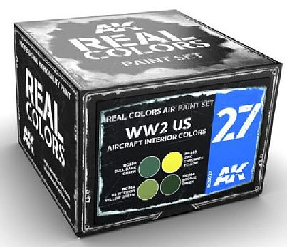 AK Real Colors- WWII US Aircraft Interior Acrylic Lacquer Paint Set (4) 10ml Bottles