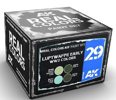 AK Real Colors- Luftwaffe Early WWII Acrylic Lacquer Paint Set (4) 10ml Bottles