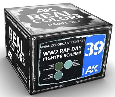 AK Real Colors- WWII RAF Day Fighter Scheme Acrylic Lacquer Paint Set (3) 10ml Bottles