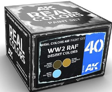 AK Real Colors- WWII RAF Desert Acrylic Lacquer Paint Set (3) 10ml Bottles