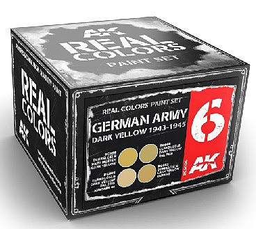 AK Real Colors- German Army Dark Yellow 1943-1945 Acrylic Lacquer Paint Set (4) 10ml Bottles