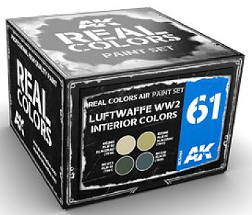 AK Real Colors- Luftwaffe WWII Interior Acrylic Lacquer Paint Set (4) 10ml Bottles