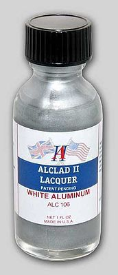 Alclad II 1oz. Bottle White Aluminum Lacquer -- Hobby and Model Lacquer Paint -- #106