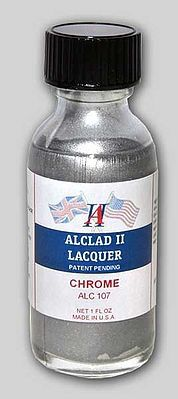 Alclad II 1oz. Bottle Chrome Lacquer for Plastic -- Hobby and Model Lacquer Paint -- #107