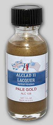 Alclad II 1oz. Bottle Pale Gold Lacquer -- Hobby and Model Lacquer Paint -- #108