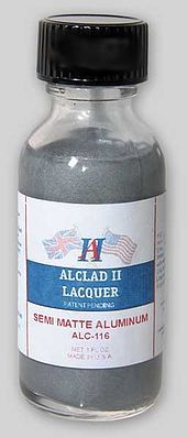 Alclad 1oz. Bottle Semi-Matte Aluminum Lacquer Hobby and Model Lacquer Paint #116