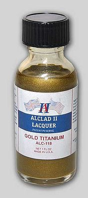 Alclad 1oz. Bottle Titanium Gold Lacquer Hobby and Model Lacquer Paint #118