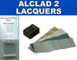Alclad Micromesh Polishing Cloth Set (1ea of 5 diff grades & rubber block)