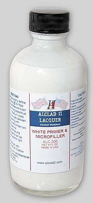Alclad II 4oz. Bottle White Primer & Microfiller -- Hobby and Model Enamel Paint -- #306