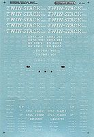 A-Line Twin-Stack Car Decals - Twin-Stack (Red Car) HO Scale Model Railroad Decal #27711