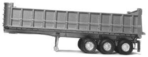 Alloy Forms Inc 30' Tri-Axle Dump Trailer with Spoke Wheels -- HO Scale Model Railroad Vehicle -- #3110