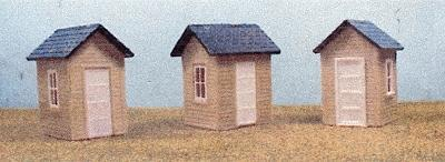 AM Small Sheds (3) HO Scale Model Railroad Building #116