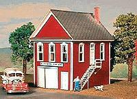 American-Models Hillview Volunteer Fire Department Fire House Kit HO Scale Model Railroad Building #147
