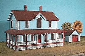 American-Models The Hanley House w/Separate One Car Garage Kit HO Scale Model Railroad Building #153