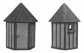 American-Models ATSF Standard Telephone Booths (Laser-Cut Wood Kit) HO Scale Model Railroad Building #183