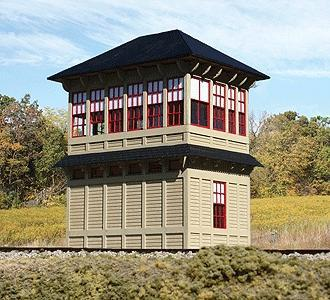 American Model Builders Pennsylvania MO Tower Laser-Cut Wood Kit -- HO Scale Model Railroad Building -- #185