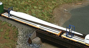 American-Models Wind Turbine Blade w/Blocking Flatcar Load 3-Pack Kit Cast Resin & Laser-Cut Parts (unpainted)
